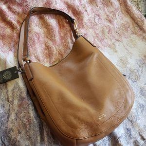 Vince Camuto tan pebble soft leather shoulder bag